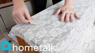 Lace Painting Technique - Lay lace on your old dresser for this stunning technique! | Hometalk