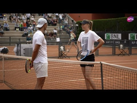 Sharapova and Nadal practice together in Rome