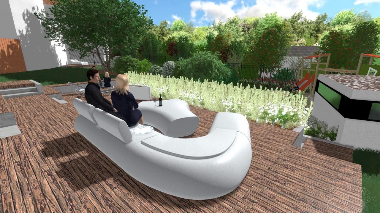 Hanggarten mit Mehrstufiger Terrasse - YouTube