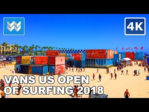 Walking Tour Of Vans US Open Of Surfing 2018 In Huntington Beach, California 【4K】