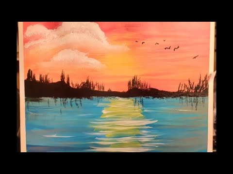Sunset beach speed painting acrylic painting for beginners