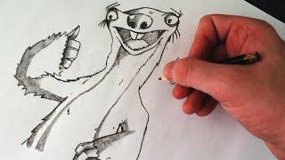 Como Desenhar o Sid [Era do Gelo] - (How to Draw Sid of Ice Age) - SLAY DESENHOS #118