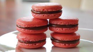 Easy Pink PB&J Choc Macarons