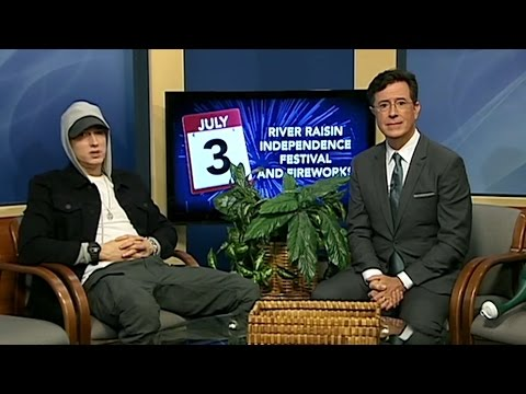Stephen Colbert Interviews Marshall Mathers On Public Access