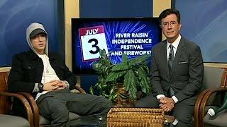 Stephen Colbert Interviews Marshall Mathers On Public Access
