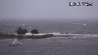 2012年9月30日 台風17号接近で爆風、大荒れの琵琶湖北湖 30日午後4時頃、...