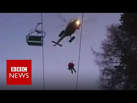 Stranded skiers' dramatic chairlift rescue- BBC News