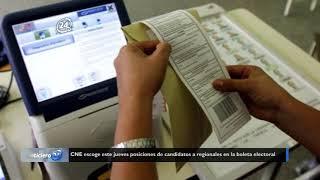 CNE escoge este jueves posiciones de candidatos a regionales en la boleta electoral