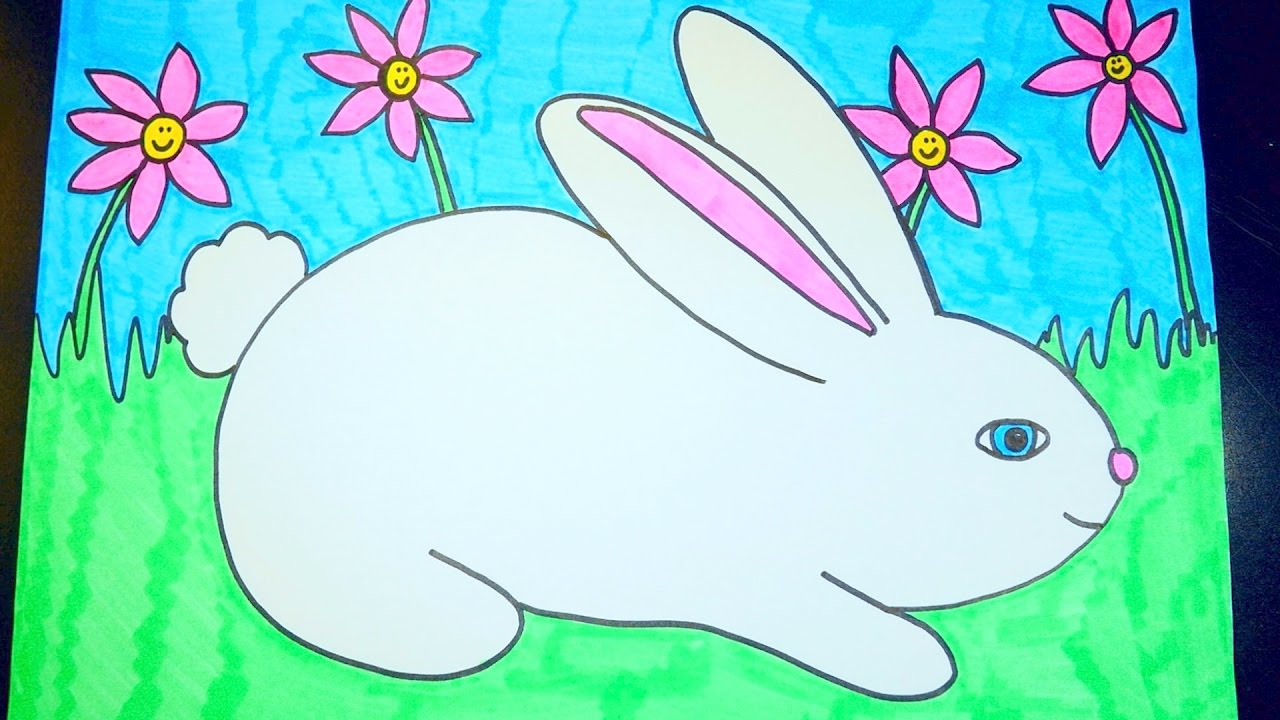 How To Draw A Rabbit ~ Easter Videos For Kids - YouTube