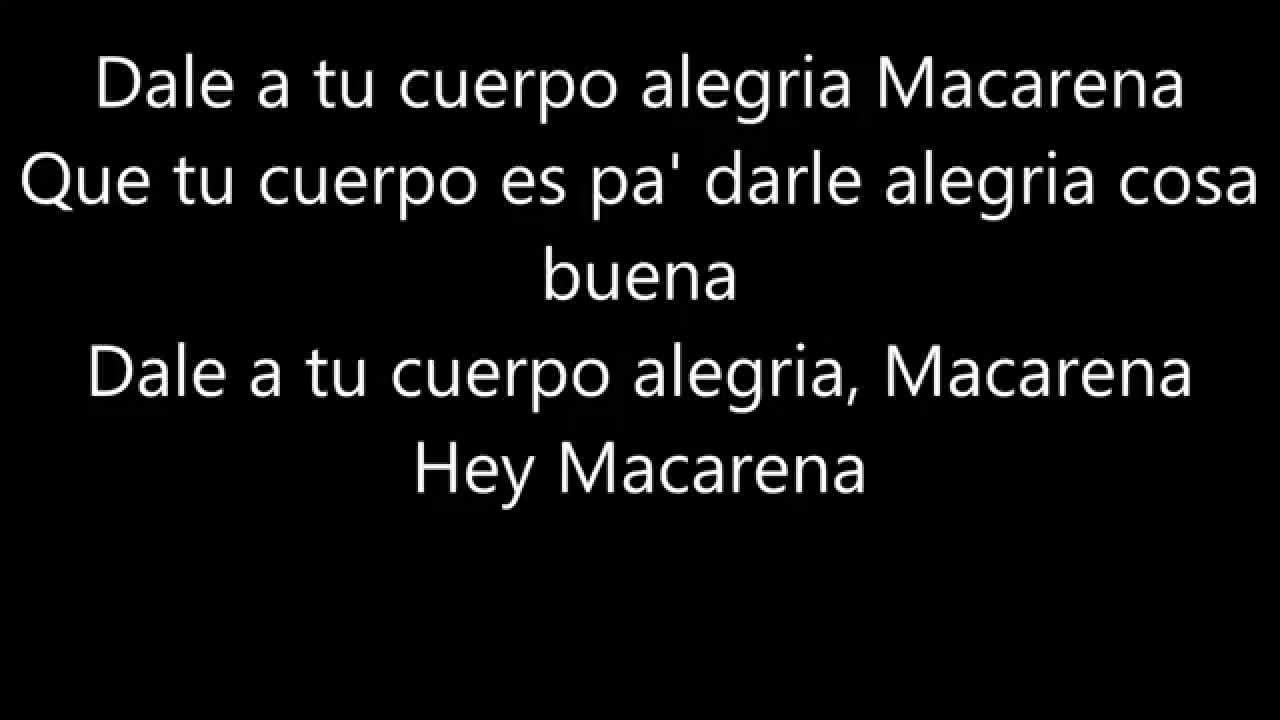 Macarena, Los del Rio, Lyrics,(Hey Macarena!) - YouTube