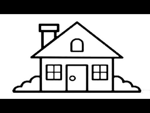 how to draw beautiful house drawing and painting rainbow ...