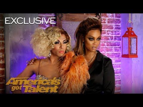 Tyra Banks Teaches Drag Queen Superstar Shangela How To Smize - America's Got Talent 2018