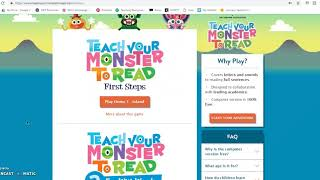Website Tutorial for Famlies - Teach Your Monster to Read