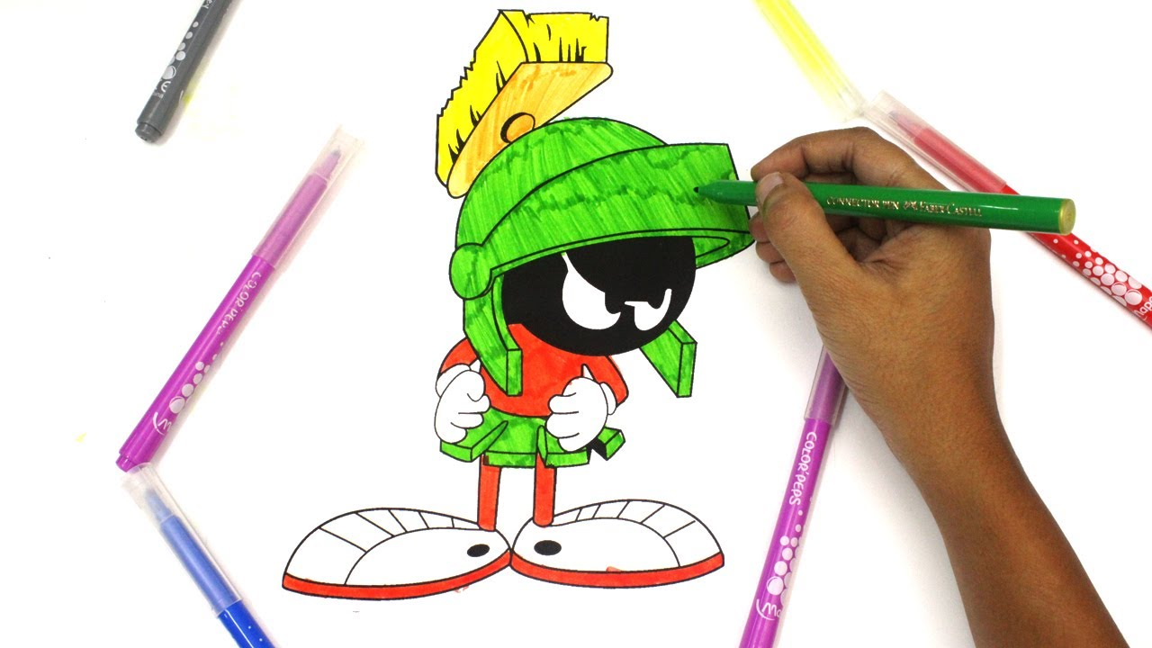 Colouring Marvin The Martian Looney Tunes Bugs Bunny Daffy Duck Road Runner Sylvester Tweety Youtube