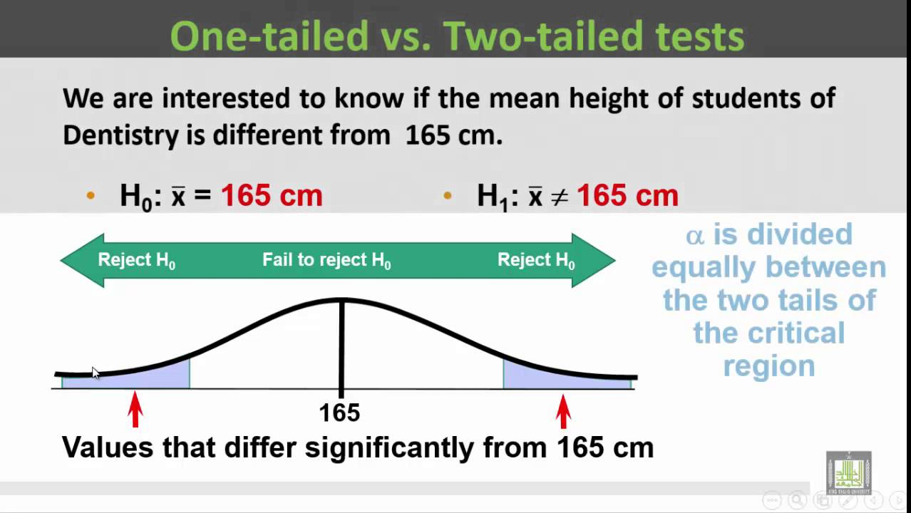 how to tell if one tail or two tail test