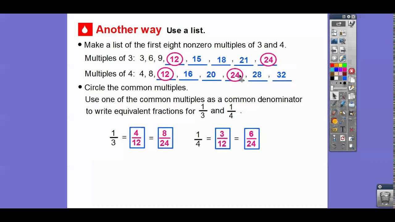 Least Common Denominator Fifth Grade lowest common multiple – Least Common Denominator Fractions Worksheet