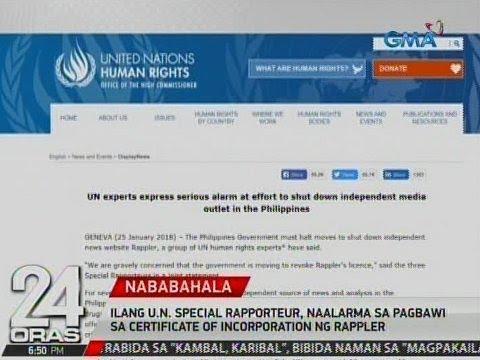 Ilang U.N. Special Rapporteur, naalarma sa pagbawi sa certificate of incorporation ng Rappler