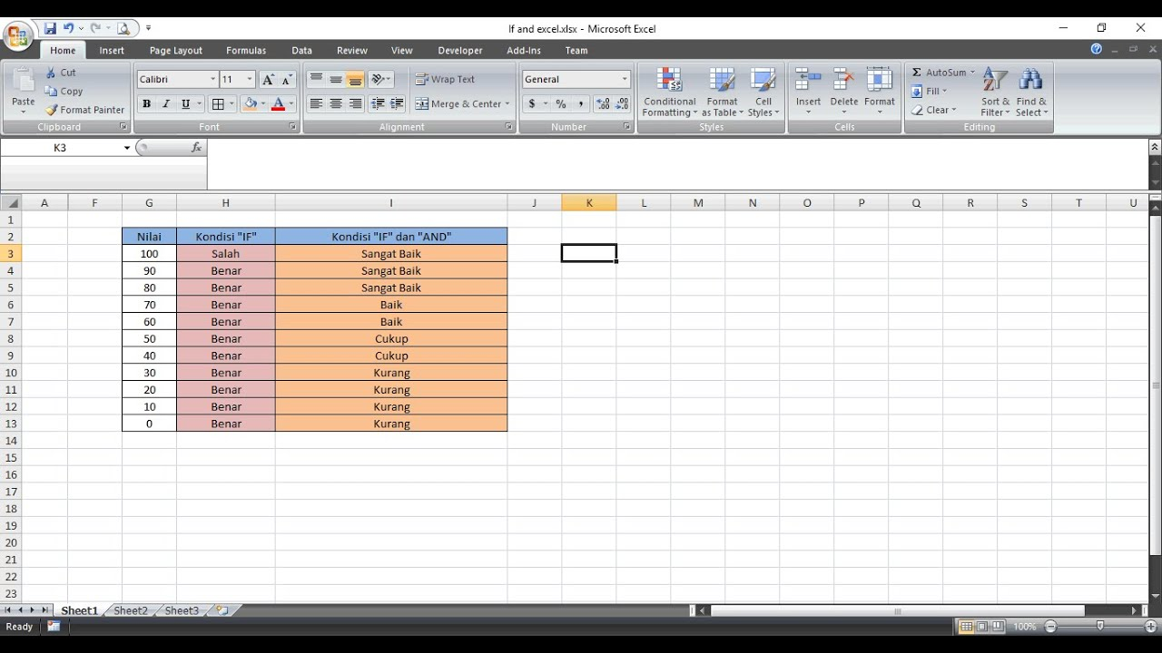 Menggunakan Rumus If Dan And Di Excel Youtube