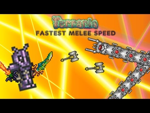 Terraria 1.2.4 Fastest Melee Speed (DOUBLE PALADIN'S HAMMERS)