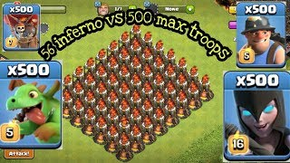 56 inferno vs all troops | inferno vs balloon | inferno vs baby dragon  || VIEW NEW ||