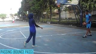 video pembelajaran teknik dasar, variasi kombinas bola basket
