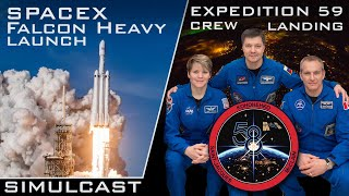 🔴 SpaceX Falcon Heavy Launch / Expedition 59 Crew Landing [HIGHLIGHTS]