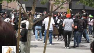 Mob attacks Neo-Nazi supporter