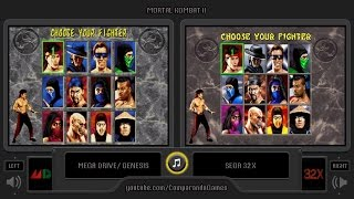 Mortal Kombat II (Sega Genesis vs Sega 32X) Side by Side Comparison