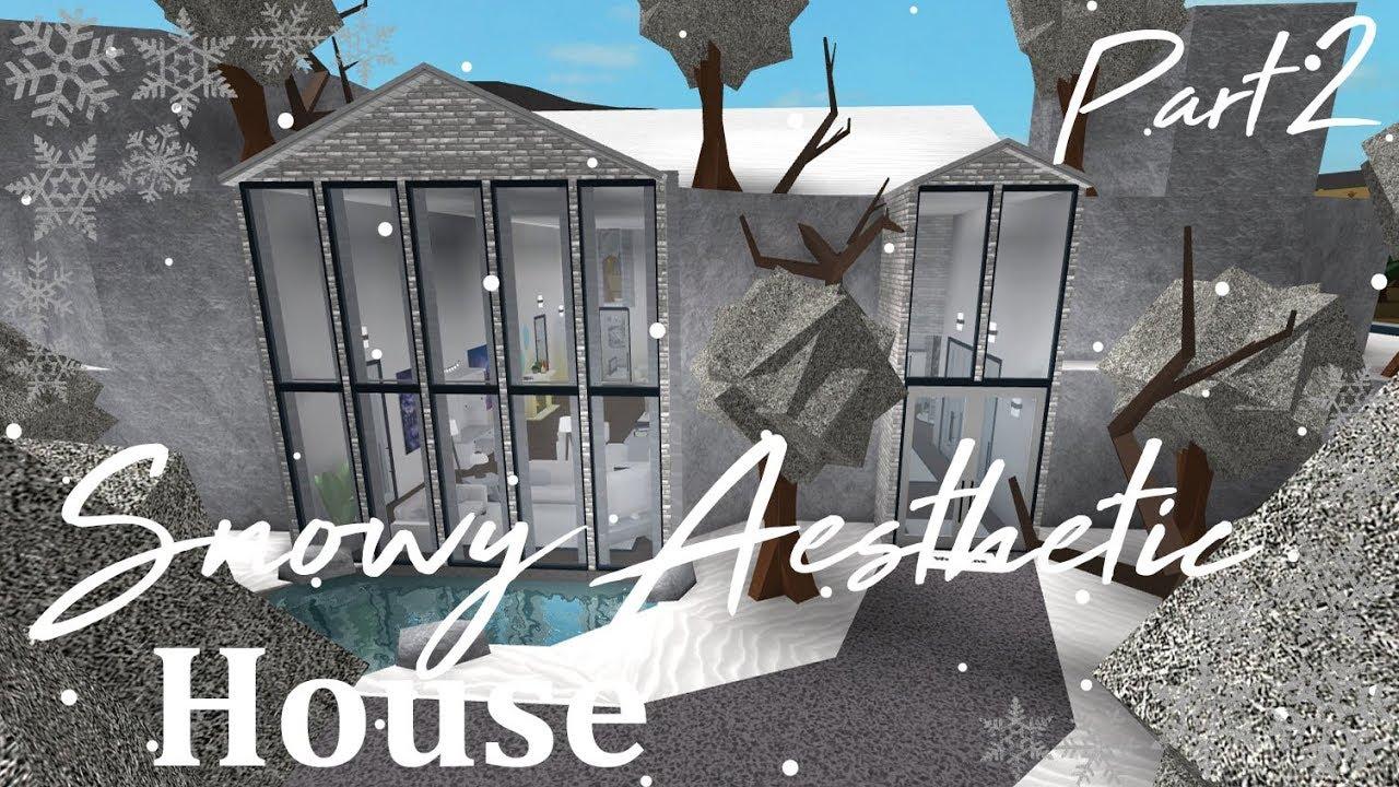 Snowy Home Roblox Roblox Bloxburg Aesthetic Snowy House Part 2 Tour 100k Youtube