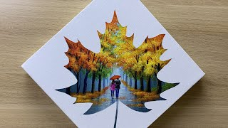Daily challenge #167 / Tape Art / Maple silhouette - Couple In Love Walking In The Rain