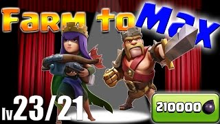 Clash of Clans: TH9 FARM to MAX!!  210000 Dark Elixir!  Lv23 Queen & Lv21 King!  Goblin Knife!