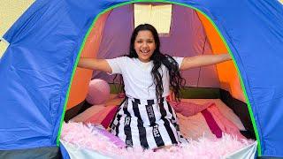 شفا نامت في الخيمة تحدي ٢٤ ساعة في الخيمة !! 24 Hours Overnight In A Tent Challenge