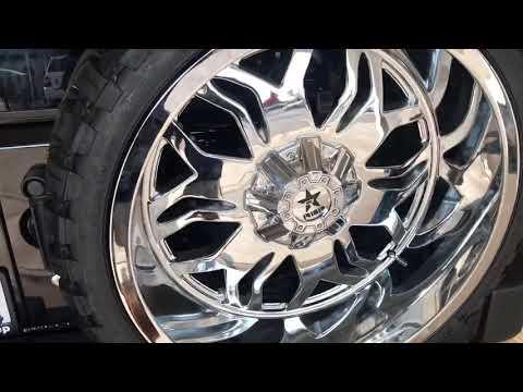 """Jeep Wrangler 24"""" RBP Rims 33"""" tires Teraflex Hinge tire carrier"""