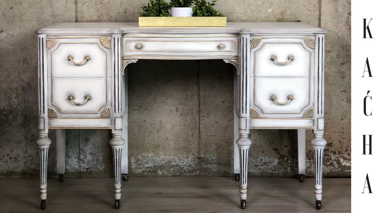 Vintage Desk Makeover With Chalk Paint Youtube