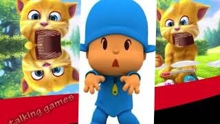 Learn Colors with Talking Pocoyo and Ginger Animation Game Baby Play Video for Kids 2018