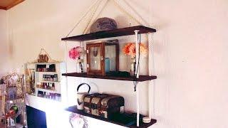 DIY: Полка на канате (веревке) (для мелочей, косметики, книг) своими руками⚓️♥ (Бюджетно)