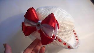 Как связать шляпку с  бантом