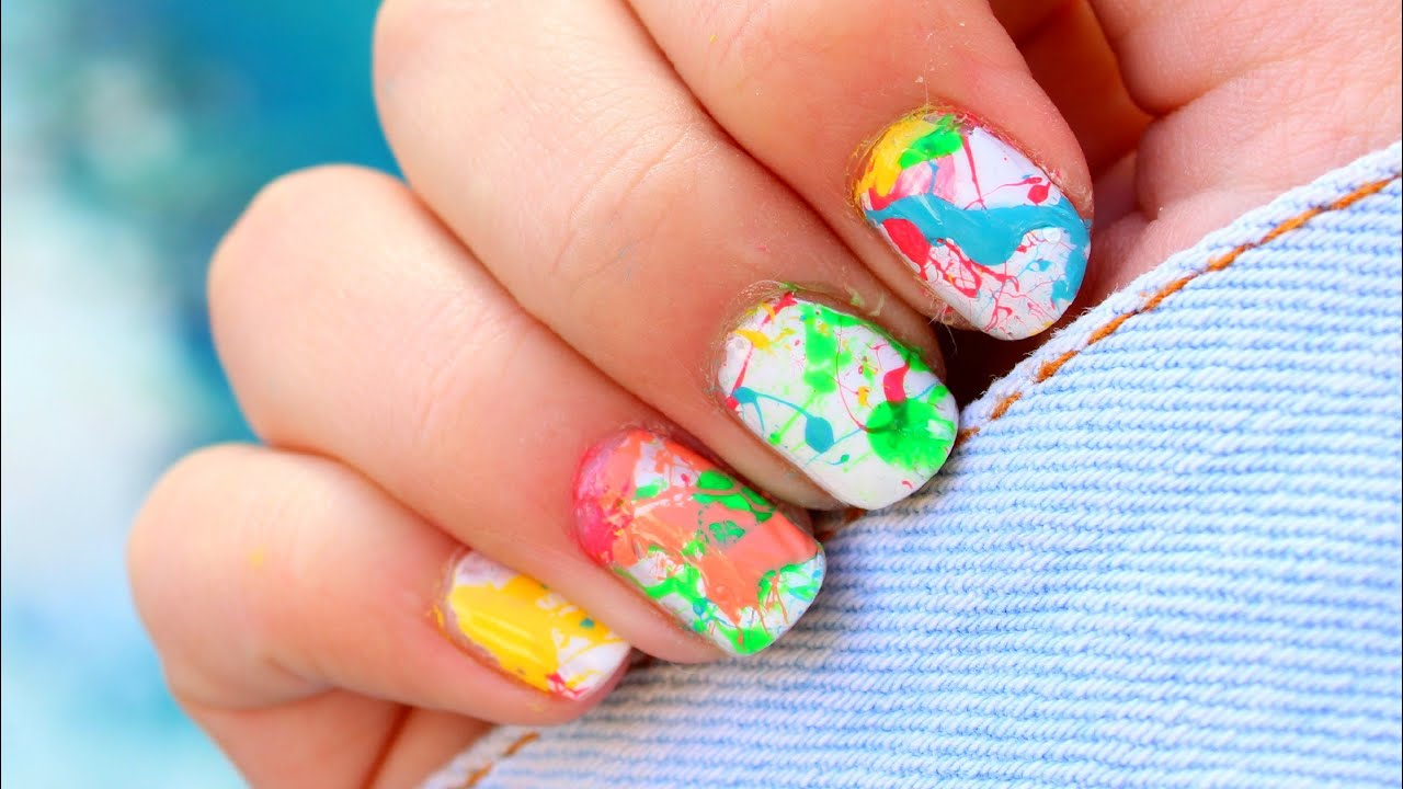 Uñas salpicadas de pintura FÁCIL | Splatter Nails - YouTube