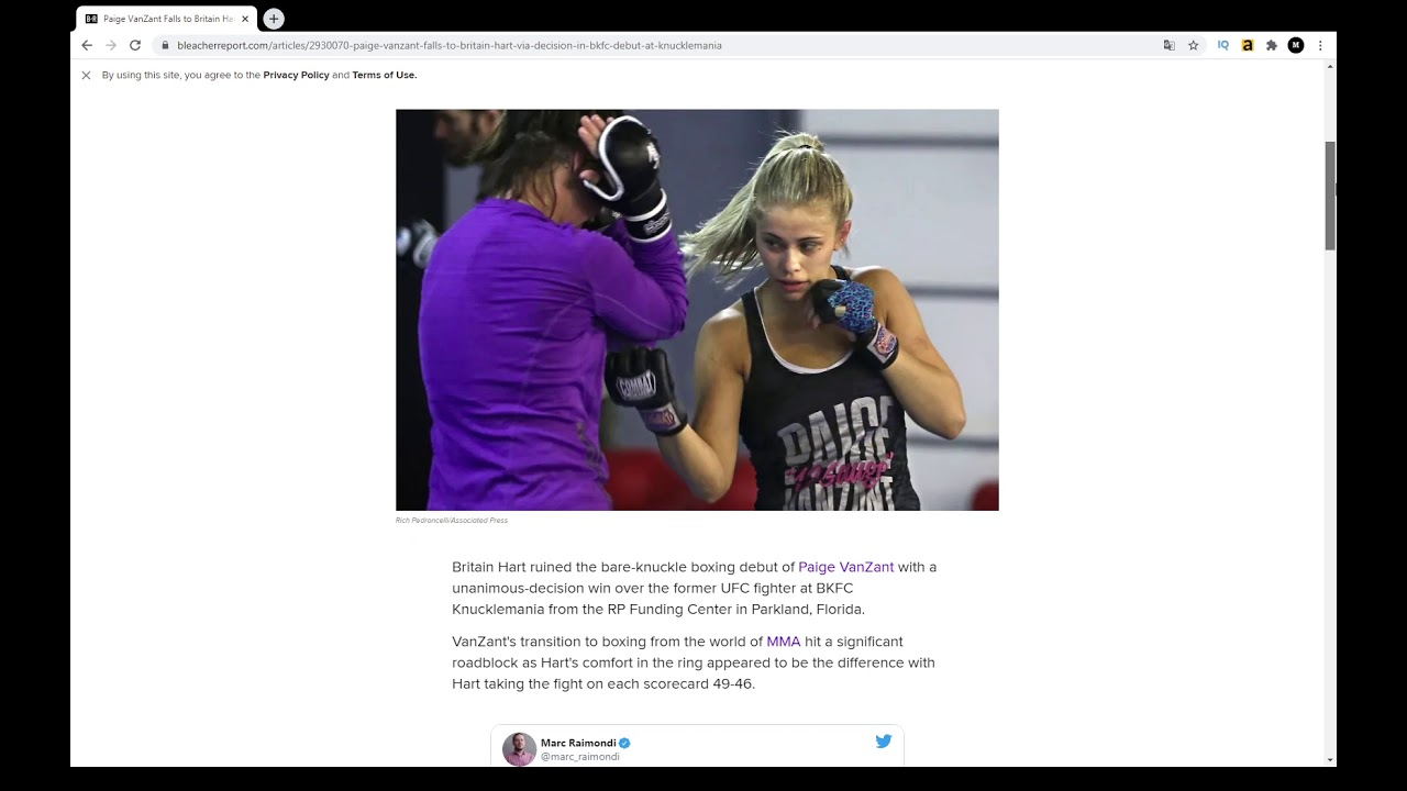 Paige VanZant Falls to Britain Hart via Decision in BKFC Debut at ...