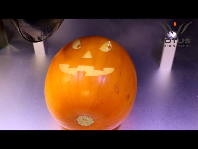 Lotus Laser Systems Meta C CO2 galvo laser engraving a Halloween Pumpkin