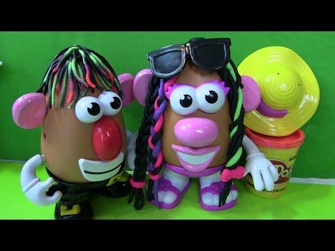 """Tạo Kiểu Tóc Play - Doh Cho Mr Mrs Khoai Tây """" Bí Đỏ"""" (Phần 1) Playdoh Hairstling Mr Mrs Potato Head"""