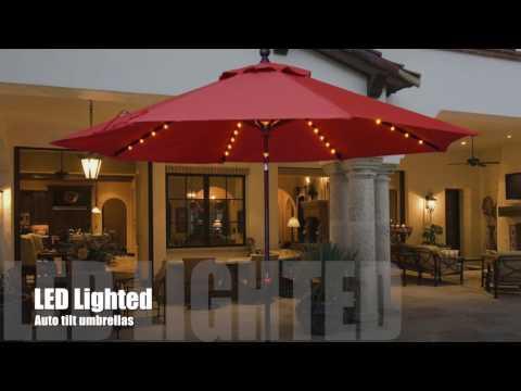 Galtech LED Light Auto Tilt Umbrellas