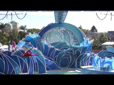 Seaworld water park, Blue Horizons Dolphin Show Orlando, water slide ride