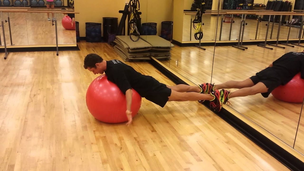 Scapular Retraction and Depression on Stability ball - YouTube