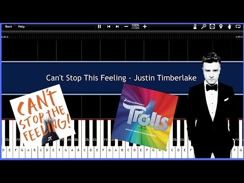 Can't Stop This Feeling - Justin Timberlake (Synthesia) [Tutorial] [Piano Tutorial] [Download]