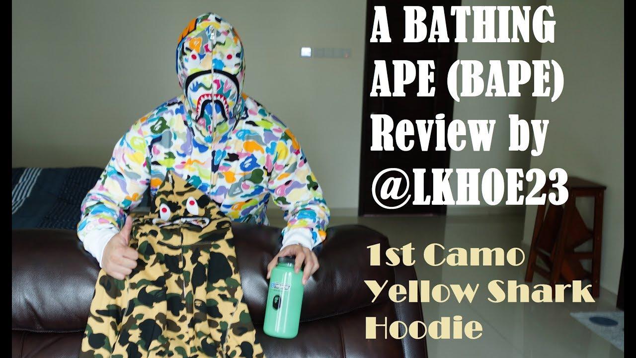 ac656b49c130 ... Bathing Ape BAPE 1st Camo Yellow Shark Hoodie Unboxing