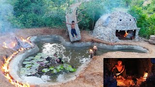 Building Water Slide Underground Swimming Pool Around Stone House   Videos Full  