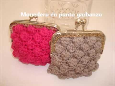 Monedero sencillo en punto garbanzo youtube for Monedero ganchillo boquilla ovalada