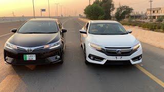 Honda Civic 2020 vs Corolla Altis Grande  Facelifts  Honda Civic vs Altis Grande  Top Speed Run