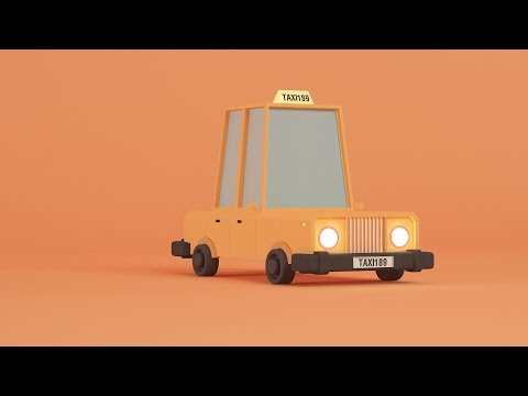 3D Studio Max Low Poly Taxi Modeling